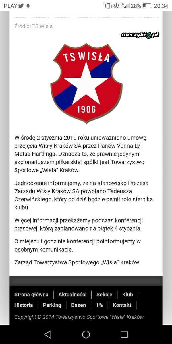 dcb09d686 Umowa przejęcia Wisły została unieważniona - Sportbuzz Meczyki.pl
