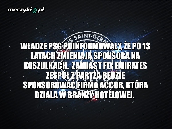 PSG zmienia sponsora na koszulkach