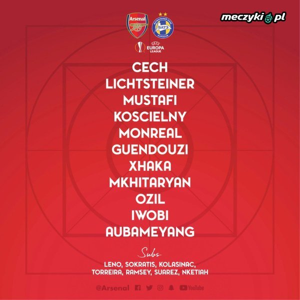 XI Arsenalu na mecz z BATE