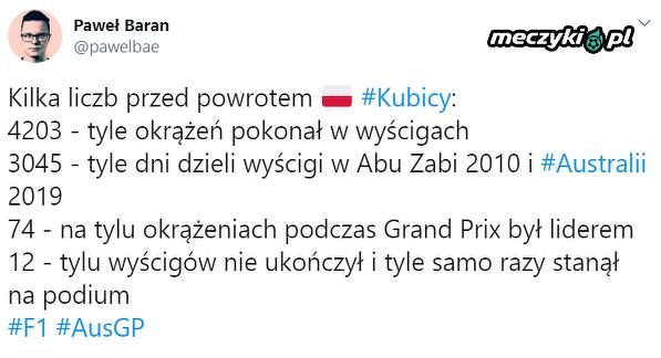 Kubica wrócił po długiej przerwie