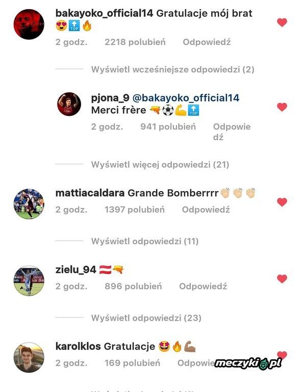 Koledzy z Milanu pogratulowali Piątkowi