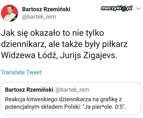 Reakcja łotewskiego dziennikarza na przypuszczalny skład Polaków