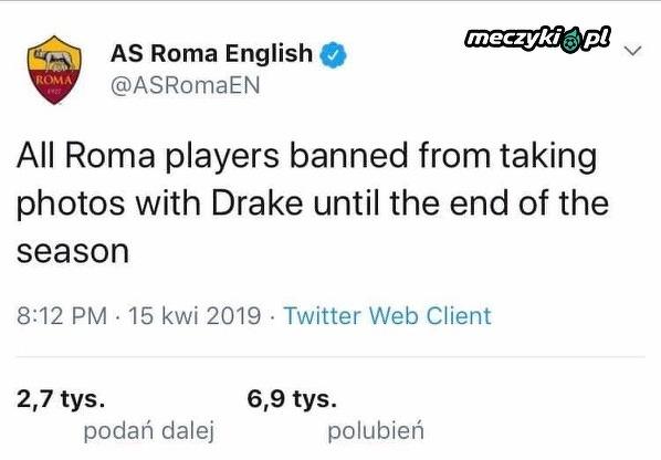 """Roma odniosła się do """"klątwy Drake'a"""""""
