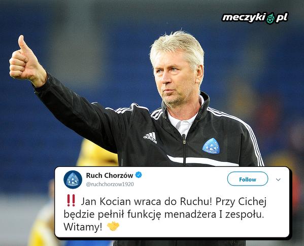 Jan Kocian ponownie trenerem Ruchu Chorzów