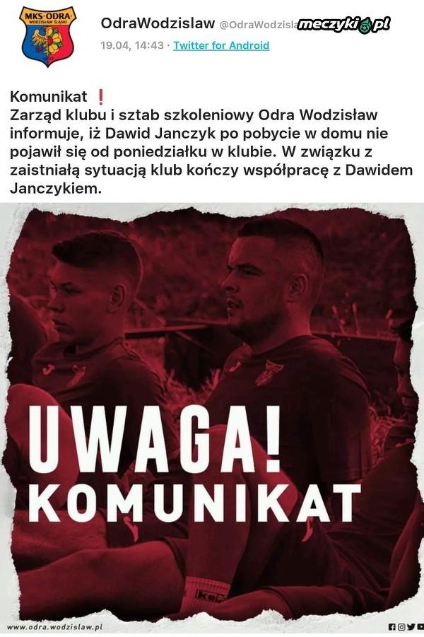 Dawid Janczyk nie jest już piłkarzem Odry Wodzisław