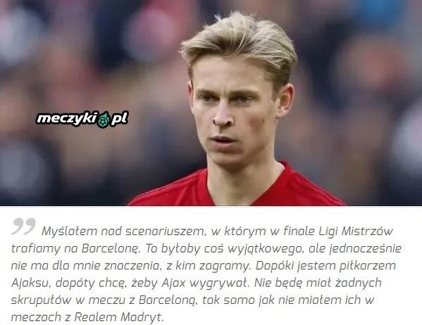 Gra przeciwko Barcelonie nie byłaby dla De Jonga problemem