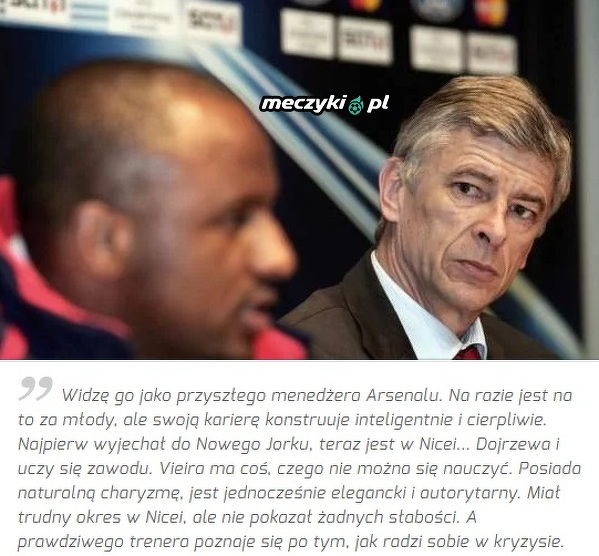 Wenger widzi w Vieirze przyszłego trenera Arsenalu