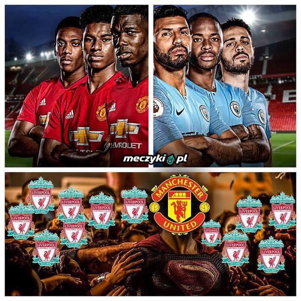 Kibice Liverpoolu podczas dzisiejszych derbów Manchesteru