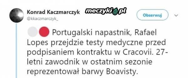Portugalski napastnik przechodzi do Cracovii