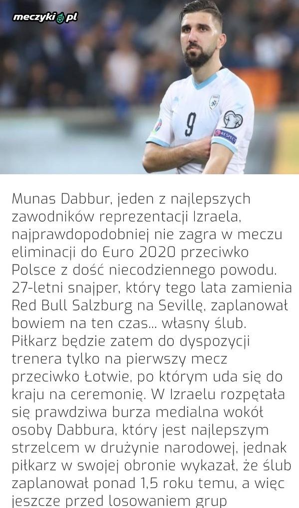 Czołowy piłkarz reprezentacji Izraela nie zagra z Polską przez ... ślub