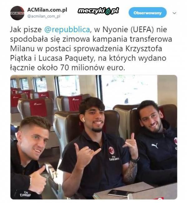 UEFA zaniepokojona rozrzutnością Milanu