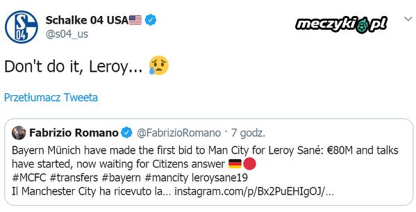 Twitterowy profil Schalke zareagował na możliwy transfer Leroya Sane