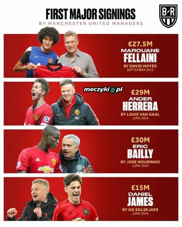 Pierwsze transfery ostatnich trenerów Man Utd