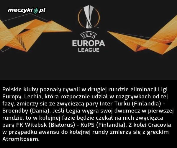 Polskie kluby poznały rywali w drugiej rundzie Ligi Europy