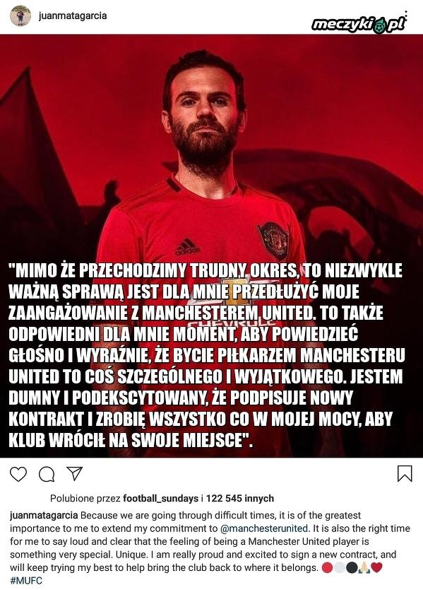 Juan Mata przedłużył kontrakt z Manchesterem United do 2021 roku