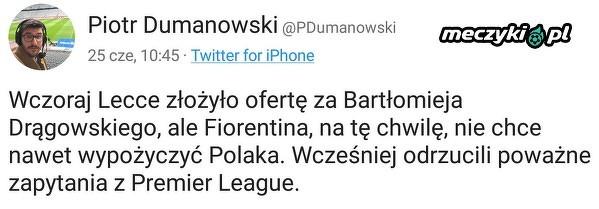 Fiorentina odrzuca kolejną ofertę za Drągowskiego