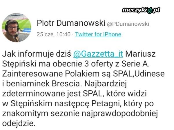 Spore zainteresowanie Mariuszem Stępińskim