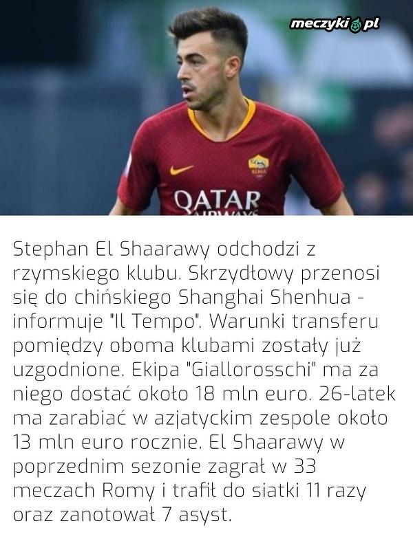 El Shaarawy odchodzi z AS Romy do Chin