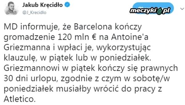 Barcelona blisko transferu Griezmanna