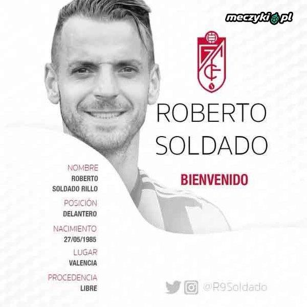 Roberto Soldado piłkarzem Granady
