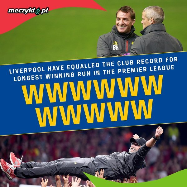 Brendan Rodgers i Jürgen Klopp jedynymi trenerami Liverpoolu, którzy zanotowali serię 11 zwycięstw z rzędu w Premier Leauge