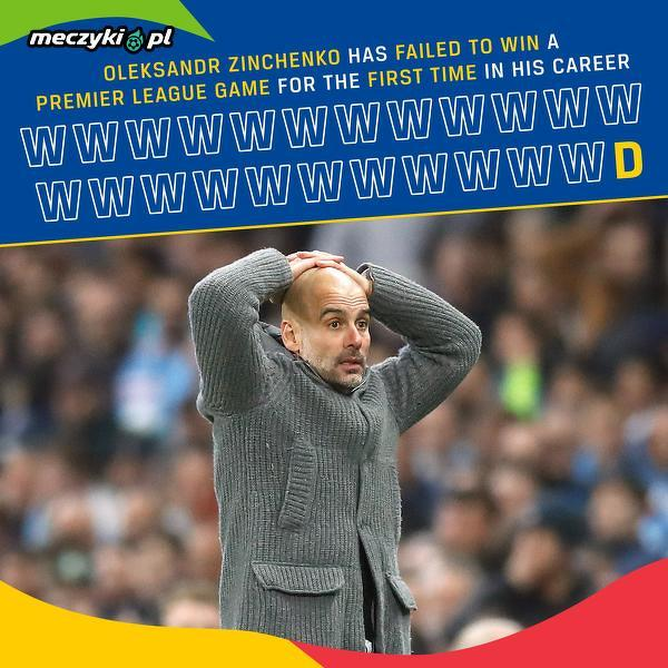 To pierwszy raz gdy Oleksandr Zinchenko nie wygrał meczu w Premier League