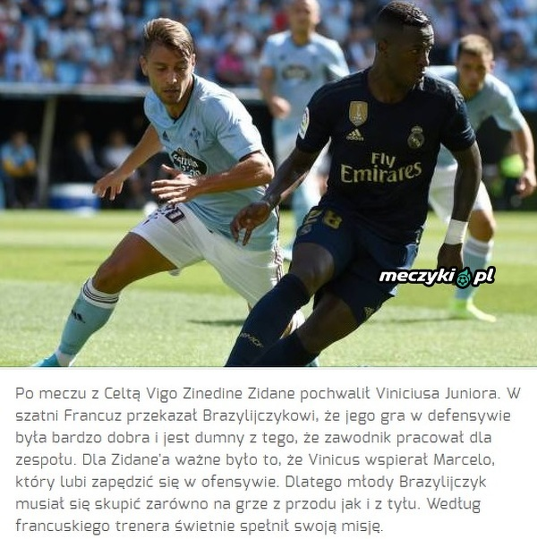 Zidane pochwalił Viniciusa za mecz z Celtą Vigo