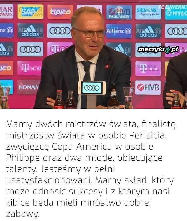 Rummenigge jest zadowolony z transferów