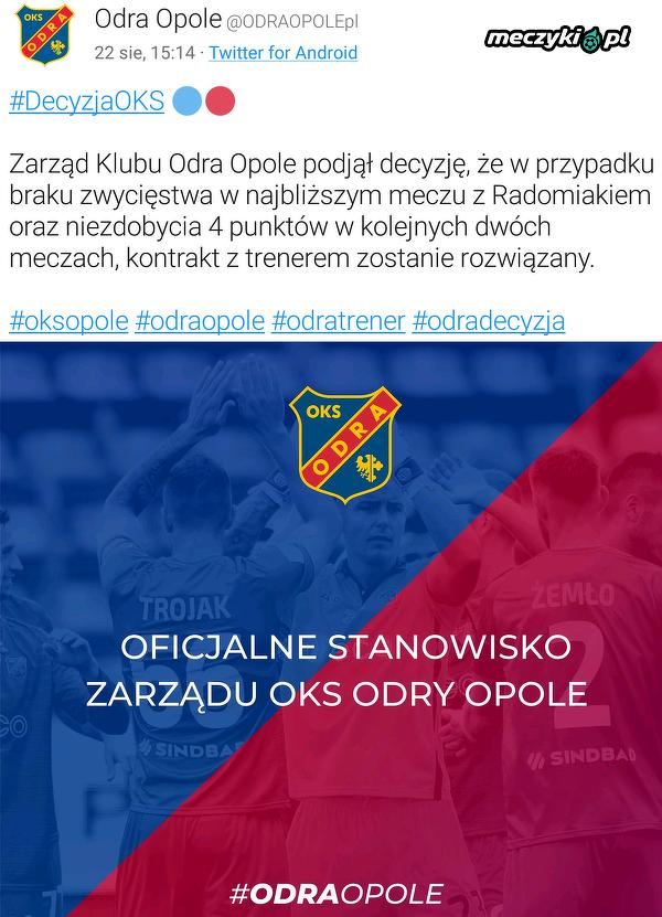 Mariusz Rumak dostał ultimatum w Odrze Opole