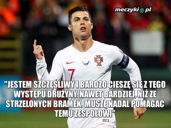 Ronaldo bardziej docenia grę drużyny niż swoje 4 gole przeciwko Litwie
