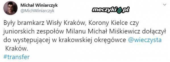 Były bramkarz Wisły Kraków zagra w okręgówce