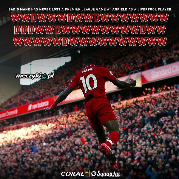 Mane nie przegrał meczu na Anfield jako piłkarz Liverpoolu w Premier League