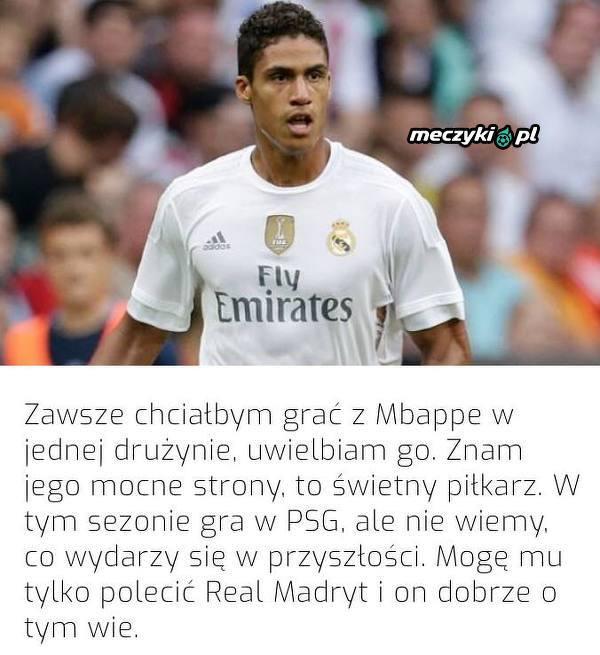Varane chciałby, żeby Mbappe trafił do Realu