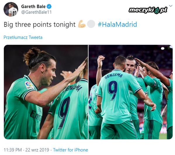Bale zadowolony ze zdobycia trzech punktów
