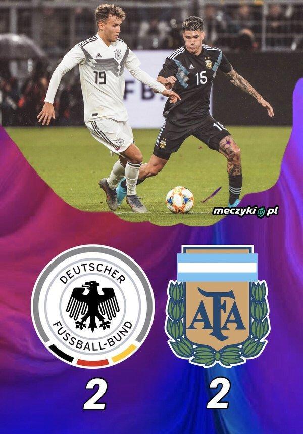 Remis w towarzyskim spotkaniu Niemcy-Argentyna