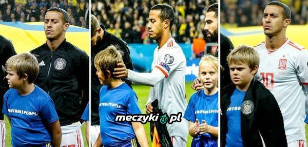 Thiago oddał swoją bluzę dziecku przed meczem Hiszpania-Szwecja
