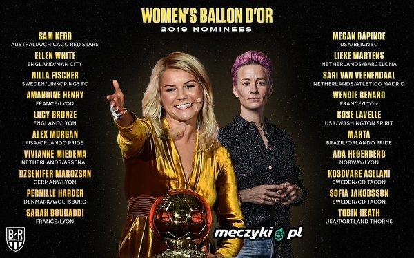 Kobiety nominowane do Złotej Piłki 2019