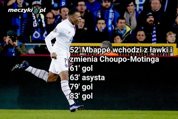 Mbappe w meczu z Club Brugge