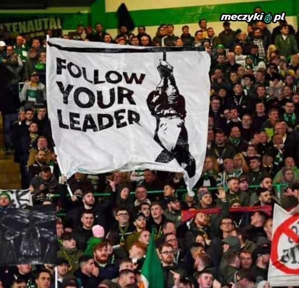 Jasny przekaz kibiców Celticu Glasgow po wygranym 2:1 meczu Ligi Europy przeciwko SS Lazio Rzym