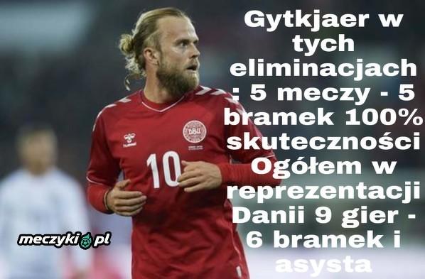 Gytkjaer znowu strzela dla Danii. Kolejny mecz w wyjściowym składzie. Świetne statystyki w reprezentacji