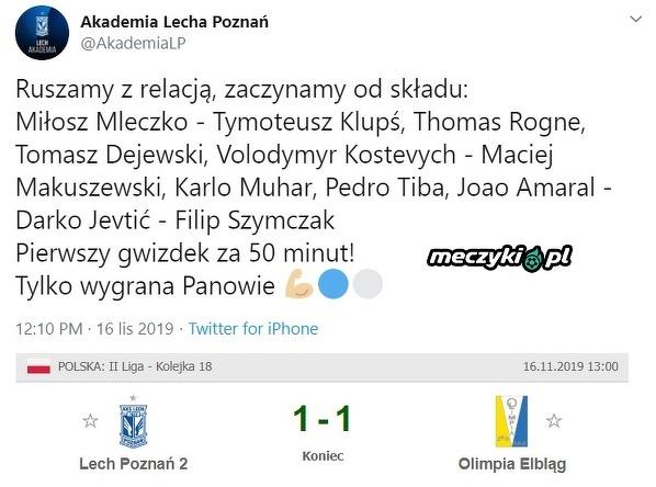 W takmi składzie rezerwy Lecha zremisowały mecz w II lidze