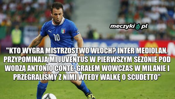 Antonio Cassano wskazał zespół, który jego zdaniem zdobędzie w tym sezonie mistrzostwo Włoch