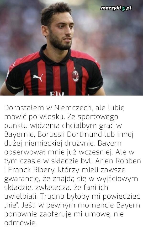 Calhanoglu chciałby grać w Bayernie