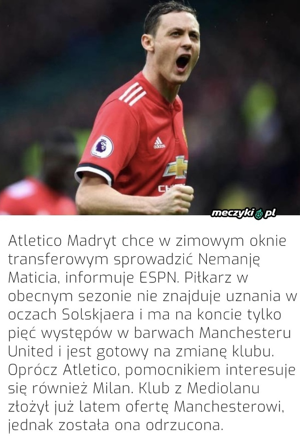 Atletico chce kupić Maticia
