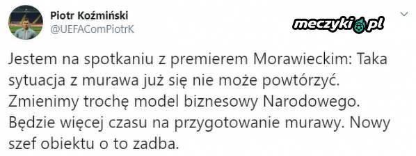 Premier Morawiecki zadba o stan murawy na Narodowym