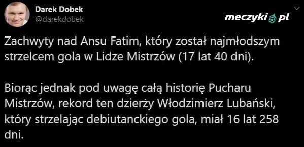 Tylko Lubański zrobił to, będąc młodszym od Fatiego