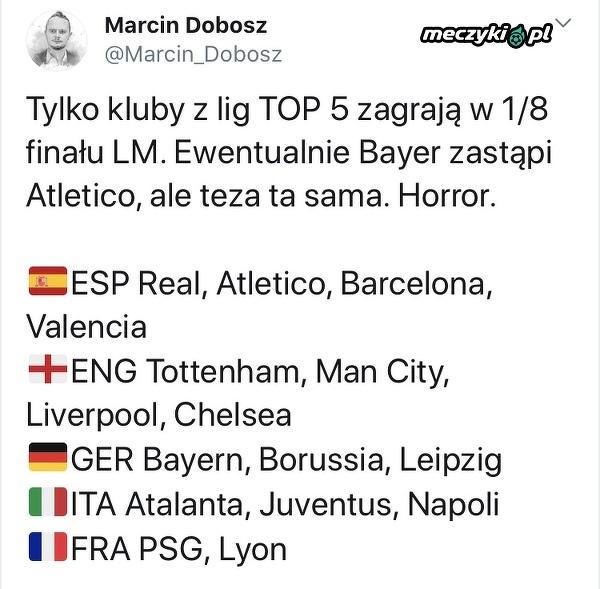W 1/8 finału LM zagrają tylko kluby z lig TOP 5