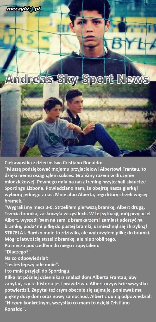 Ciekawostka z dzieciństwa Cristiano Ronaldo...