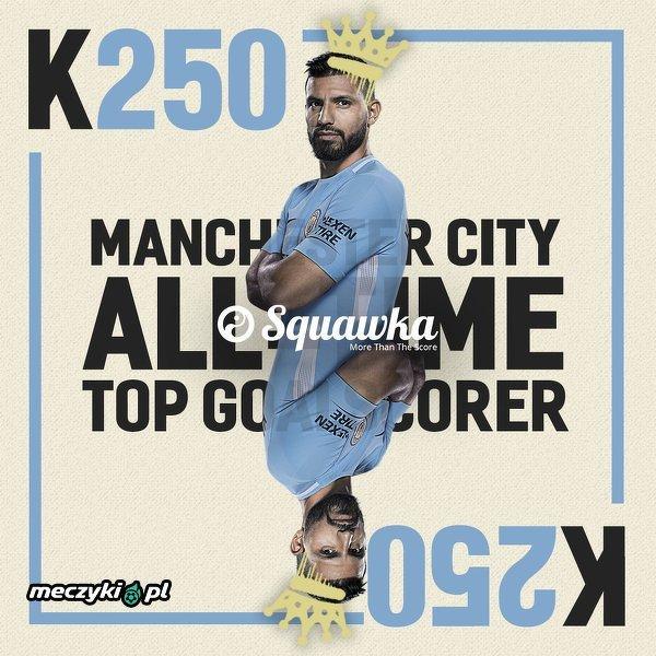 Aguero strzelił dziś 250. bramkę w barwach Manchesteru City