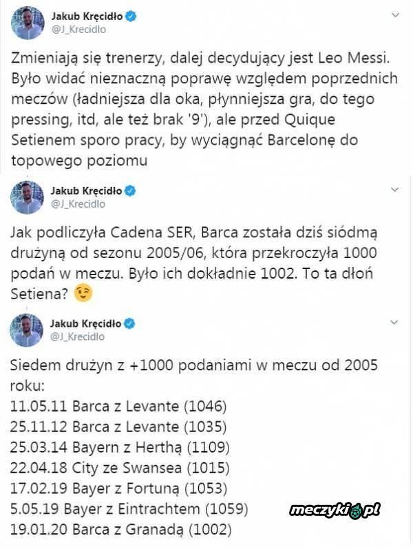 Barcelona przekroczyła liczbę 1000 podań w meczu z Granadą